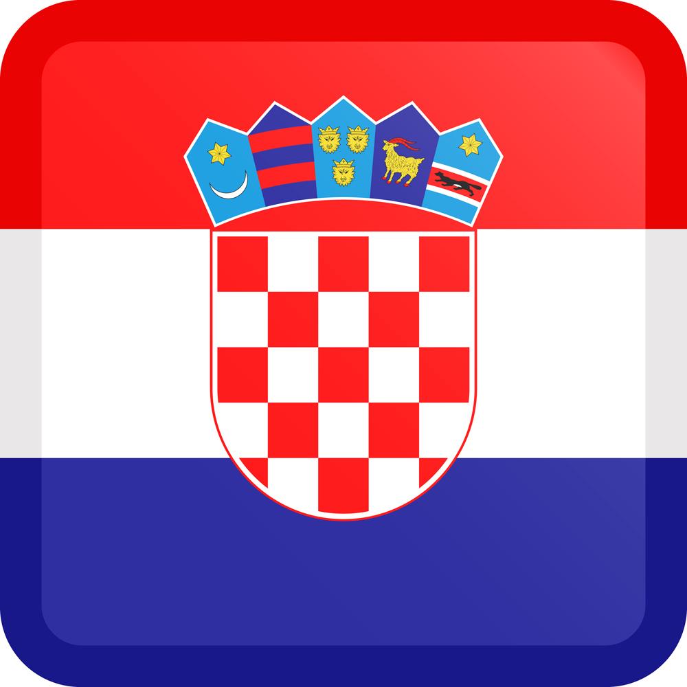 Croatia Flag Button Square Medium