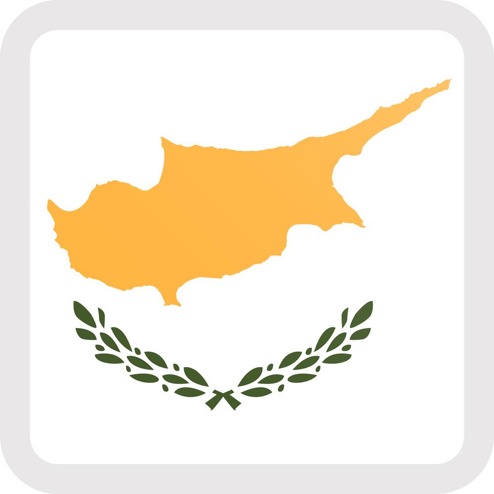 Cyprus Flag Button Square Medium