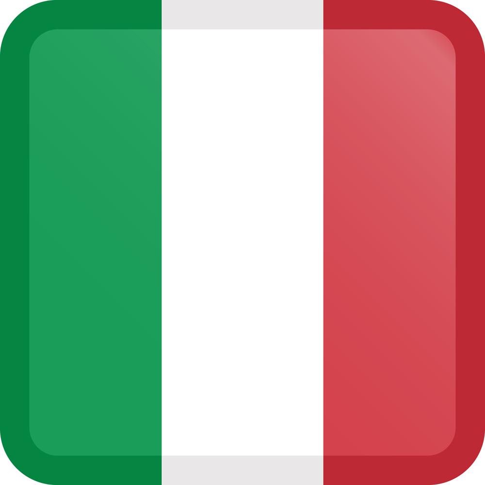Italy Flag Button Square Medium
