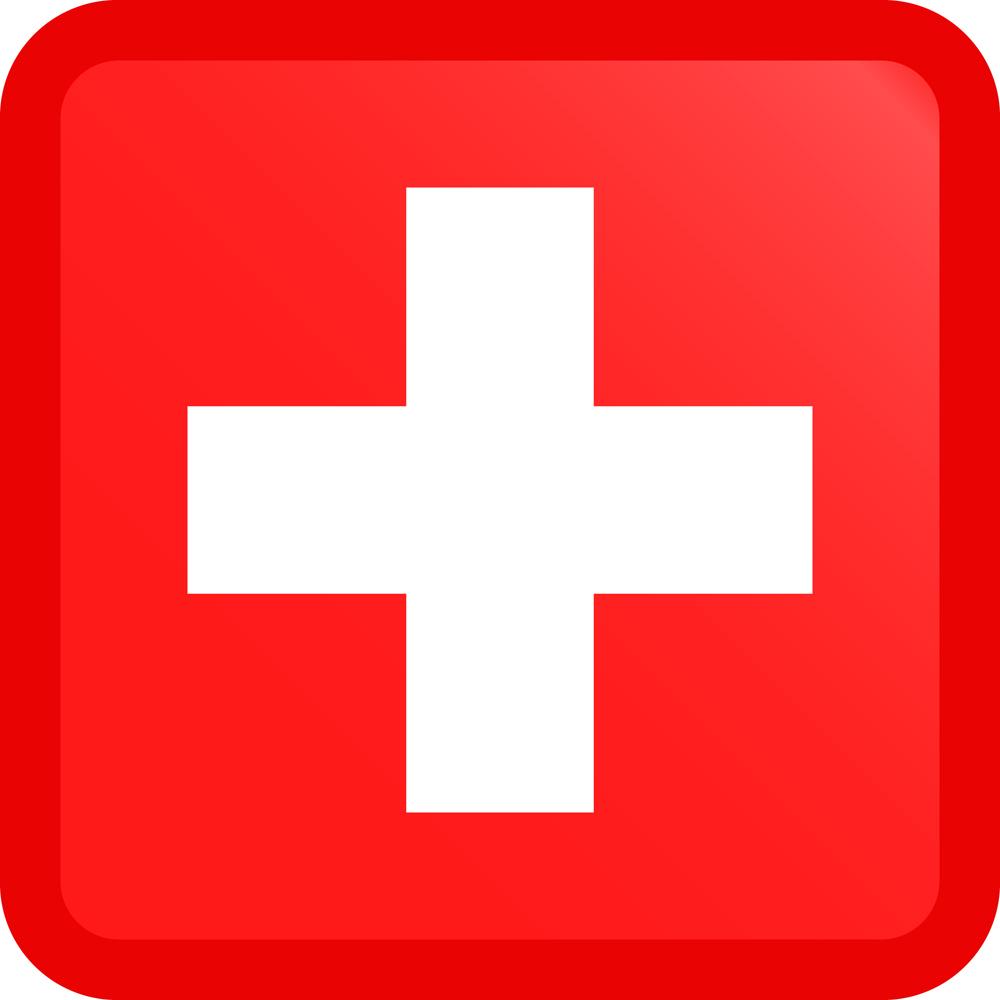Switzerland Flag Button Square Medium
