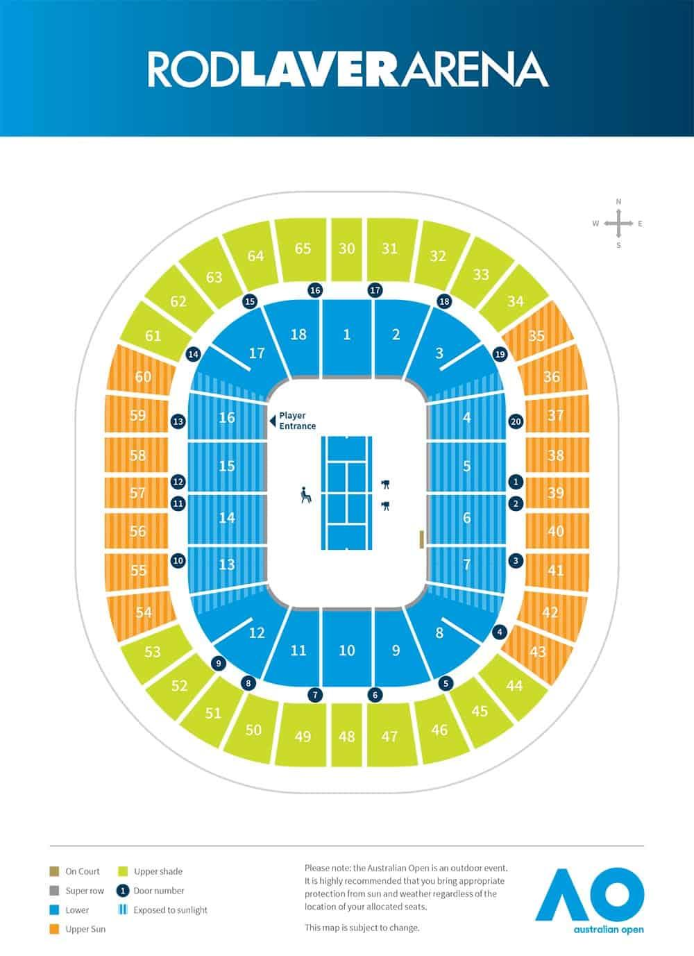 Rod Laver Arena Seating Map 2020