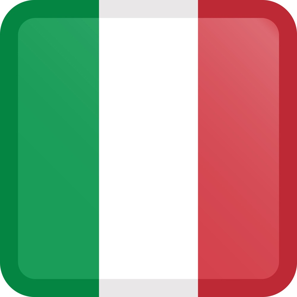 Italy Flag Button Square Medium