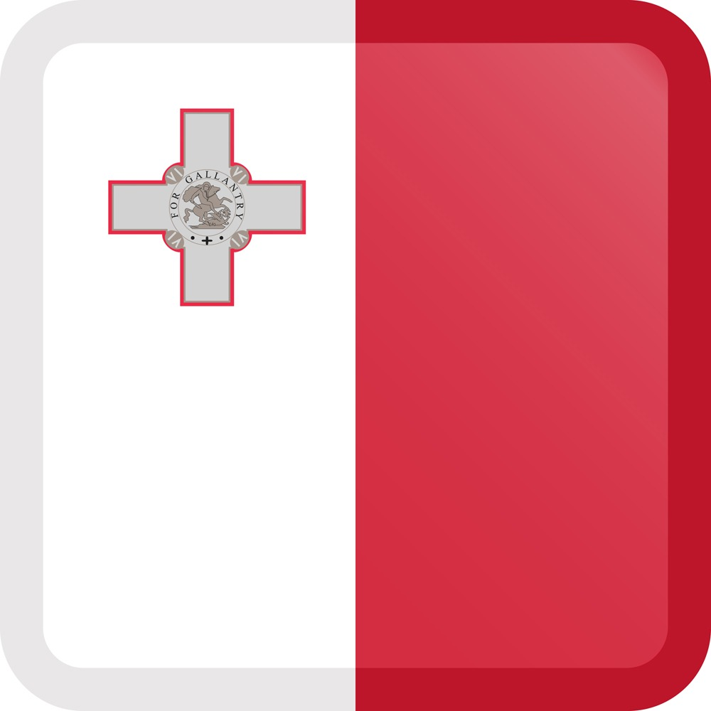 Malta Flag Button Square Medium