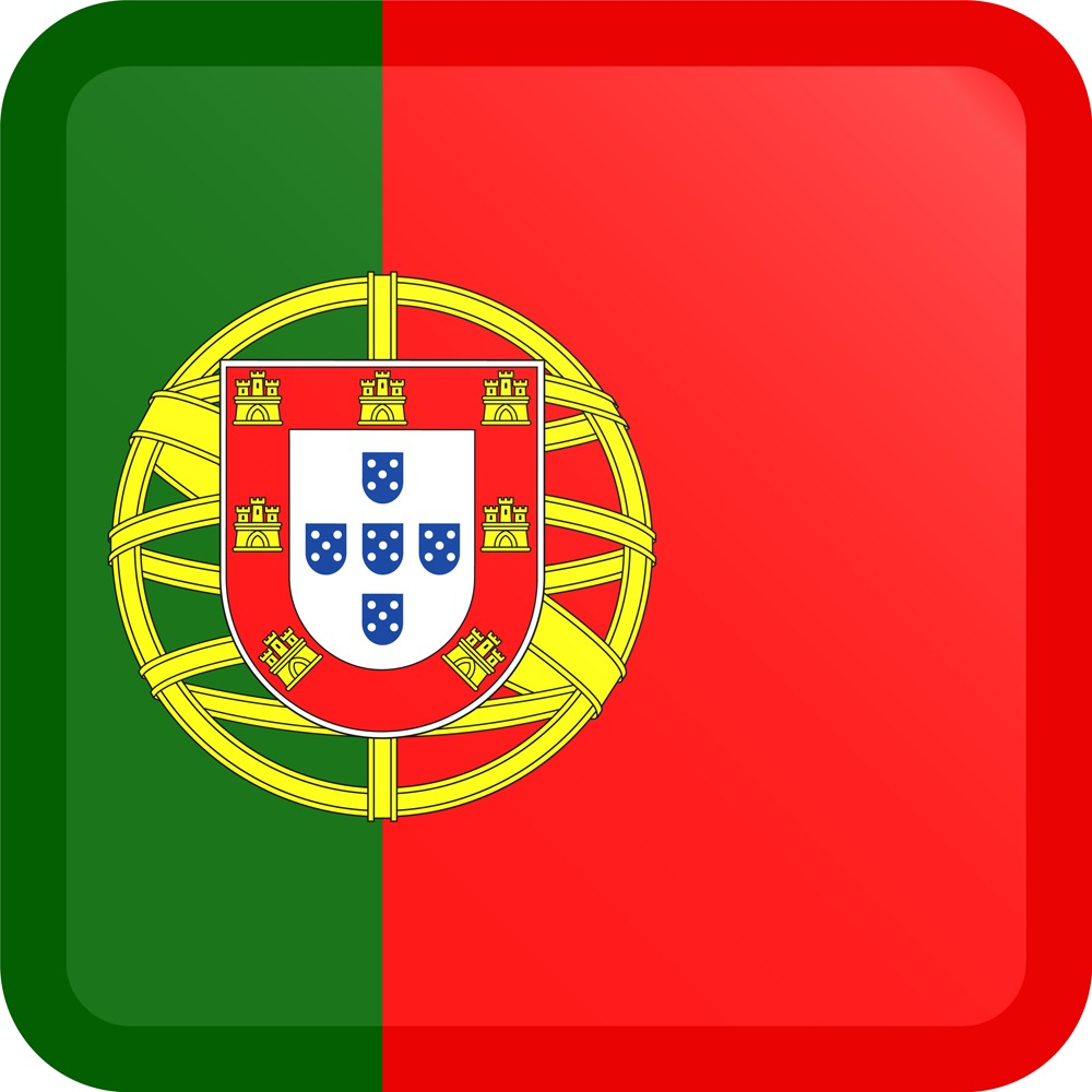 Portugal Flag Button Square Medium