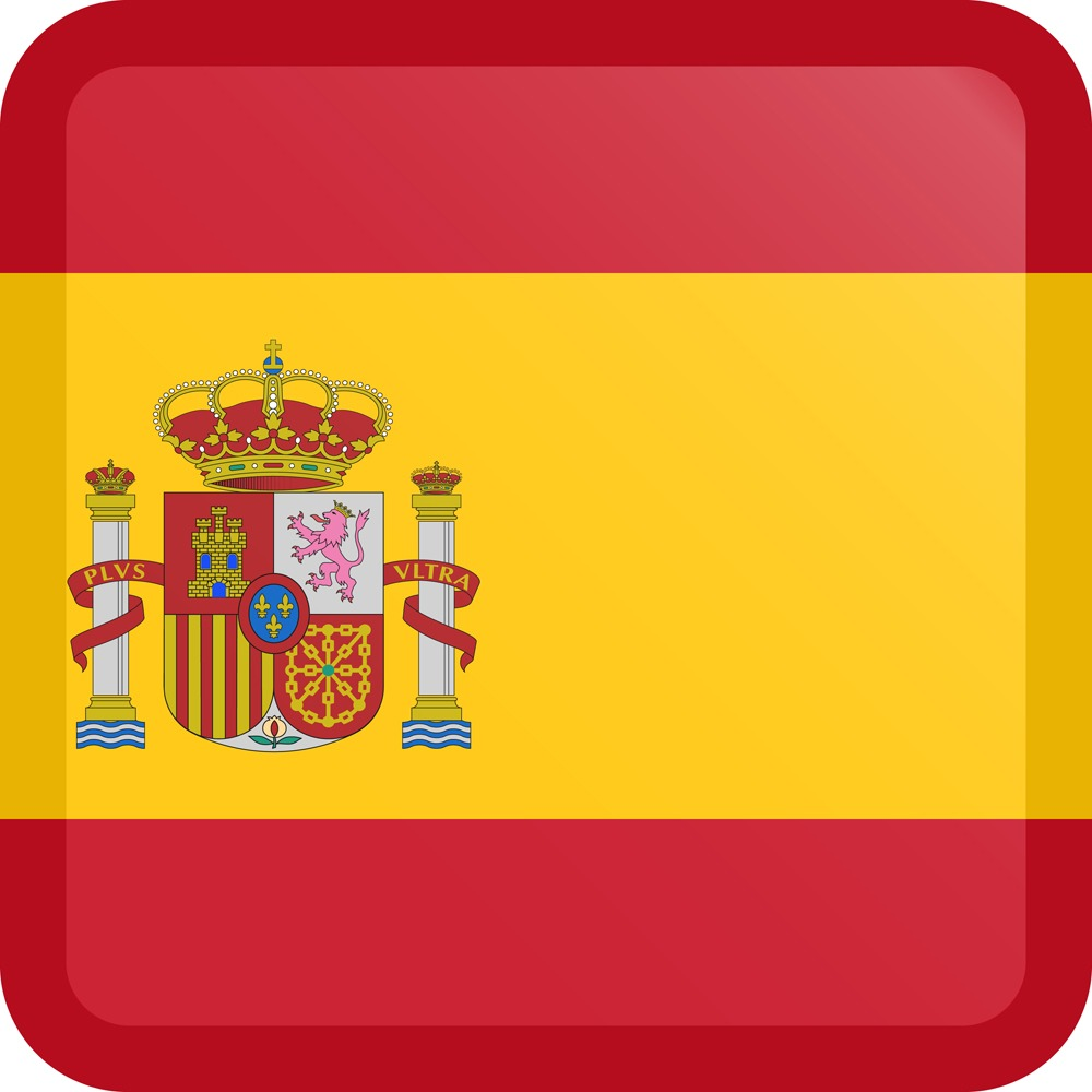 Spain Flag Button Square Medium