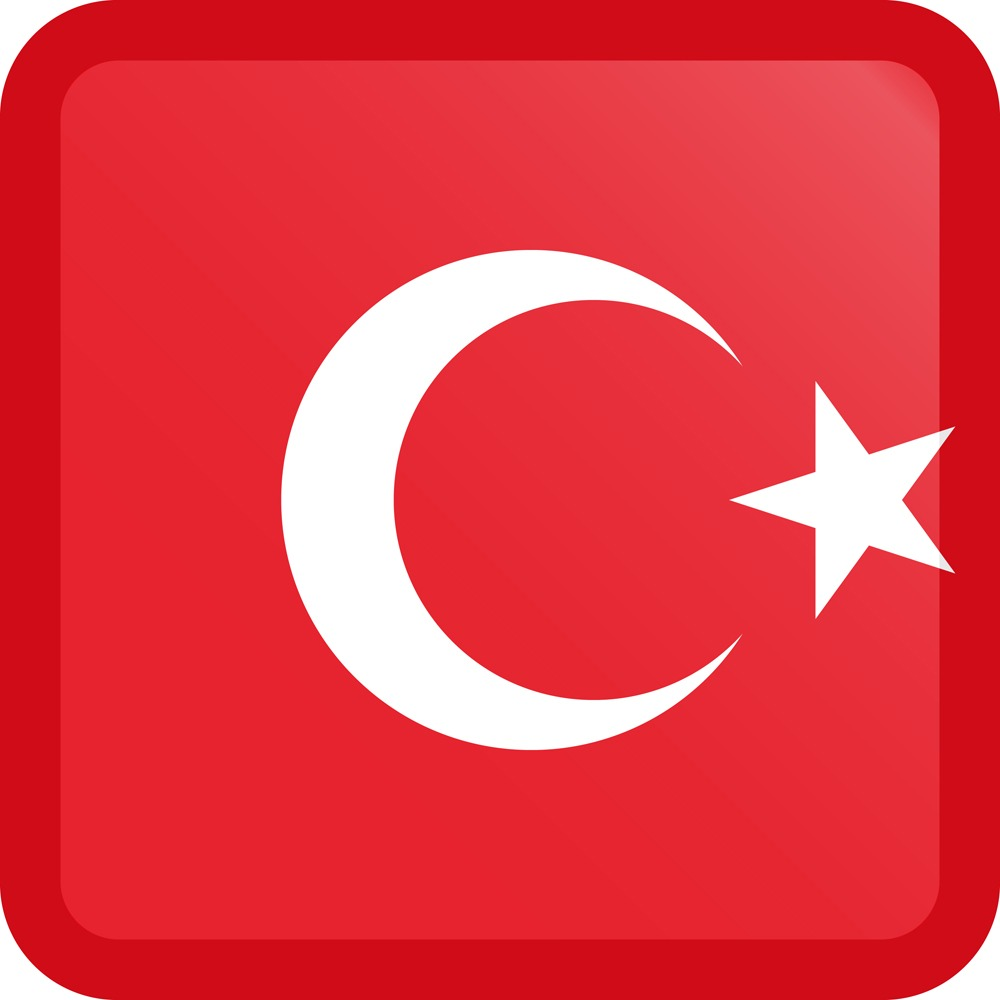 Turkey Flag Button Square Medium